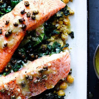 Slow-Cooked Salmon, Chickpeas, and Greens recipe | Epicurious.com.