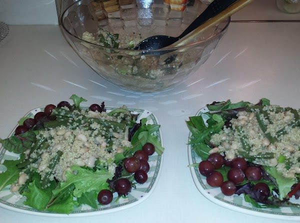 Just before serving, pour dressing over salad; toss gently to coat. Serve on fresh...