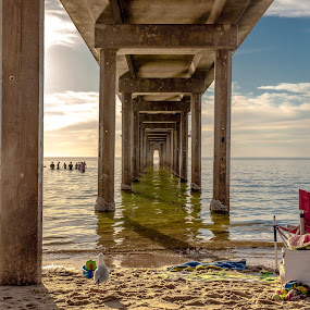 Under a Jetty Sunset by Gary Pore - Buildings & Architecture Bridges & Suspended Structures ( relax, beach, sunset, jetty )