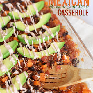 Mexican Quinoa and Sweet Potato Casserole with Chipotle Yogurt Sauce.
