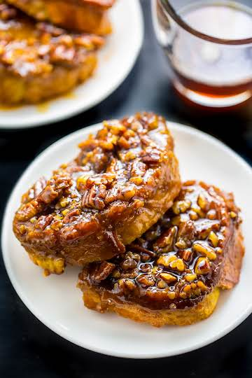 Overnight Pecan Pie French Toast - Baker by Nature