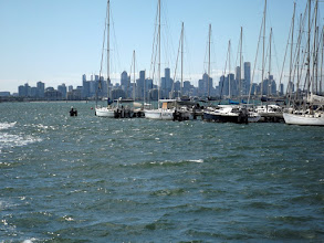 Photo: Blick auf Melbourne vom Gem Pier, Williamstown