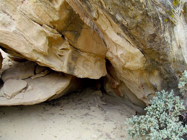 Fallen boulder with pictographs on the right