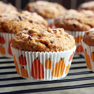 Pumpkin-Chocolate Chip Muffins with Caramel Swirl