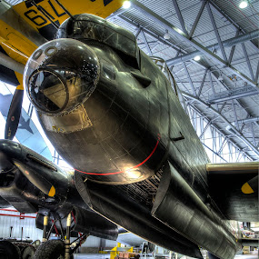 lancaster bomber and payload by Ray Heath - Transportation Airplanes ( iwm airforce museum, dambuster's bomber & bomb, ww2 raf bomber, lancaster bomber, iconic raf bomber,  )