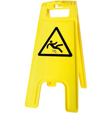 """Skylt Varning """"Halt golv""""  gul"""