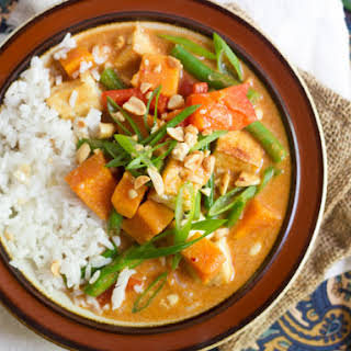 Thai Massaman Curry with Sweet Potatoes and Tofu.