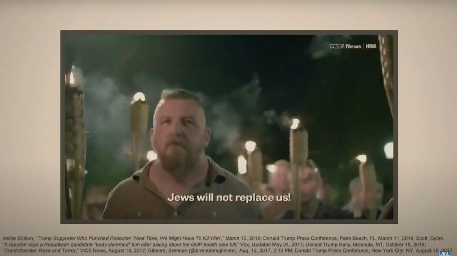 """'Very Fine People Hoax': Footage from Vice's August, 2017 """"Charlottesville: Race and Terror"""" during Lead House Impeachment Manager Rep. Jamie Raskin's (D-MD) early presentation on Feb. 11. Raskin attempted to use the clip, and selective contextual quotes from the President's response at a press conference the next day as evidence Trump has a history of inciting """"white supremacist"""" violence."""