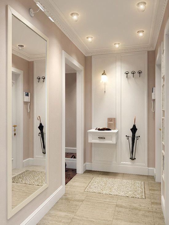 Biel, krem, beż i żółć to idealny kolory do korytarza.