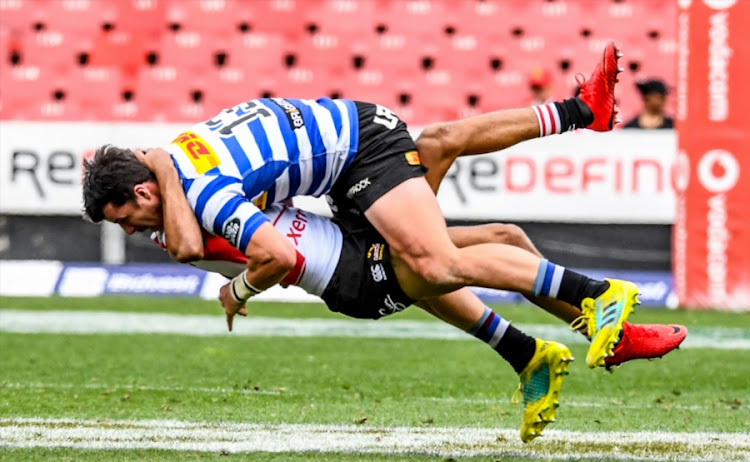 Ruhan Nel of Western Province tackles Gianni Lombard of the Lions during the Currie Cup match at Emirates Airline Park on September 15, 2018 in Johannesburg.