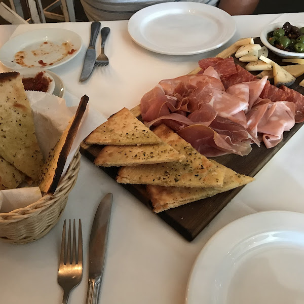assorted meats & cheeses with side of gluten free focaccia bread