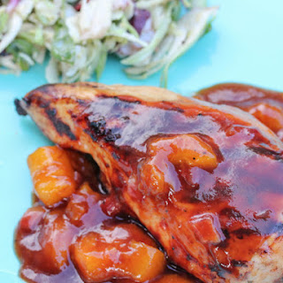 Grilled Pomegranate Chicken with Mango BBQ Sauce.