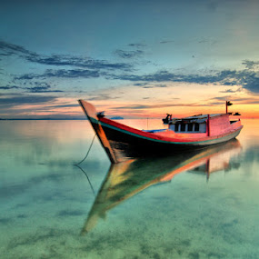 Boat dan Sunset by Rawi Wie - Transportation Boats