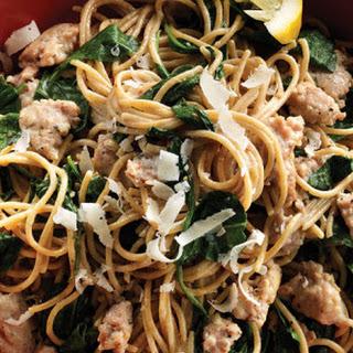 Lemon Spaghetti with Turkey Sausage & Spinach