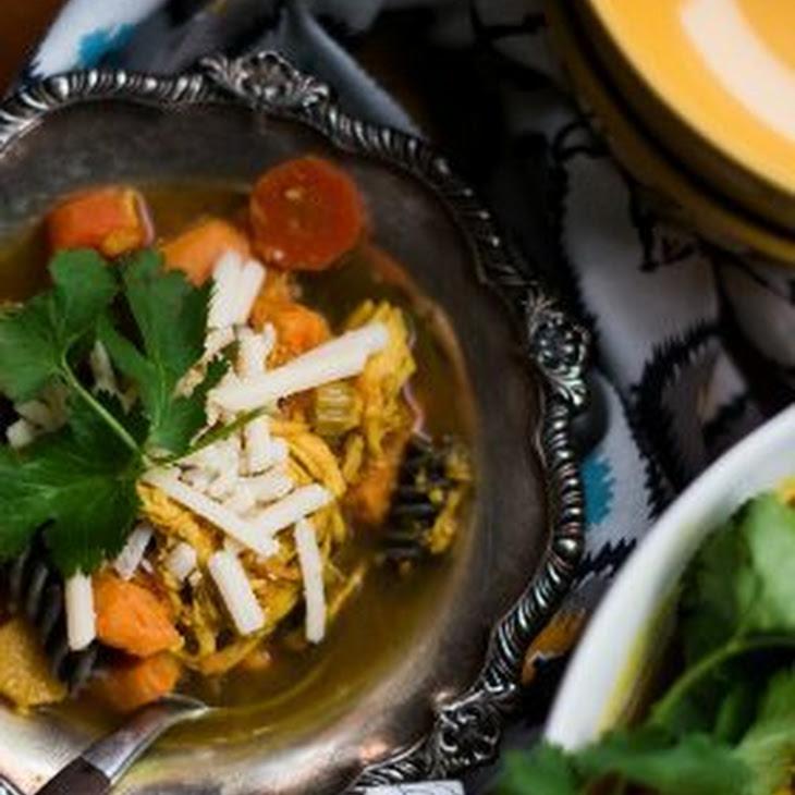 Turmeric Sweet Potato Chicken Noodle Soup Recipe