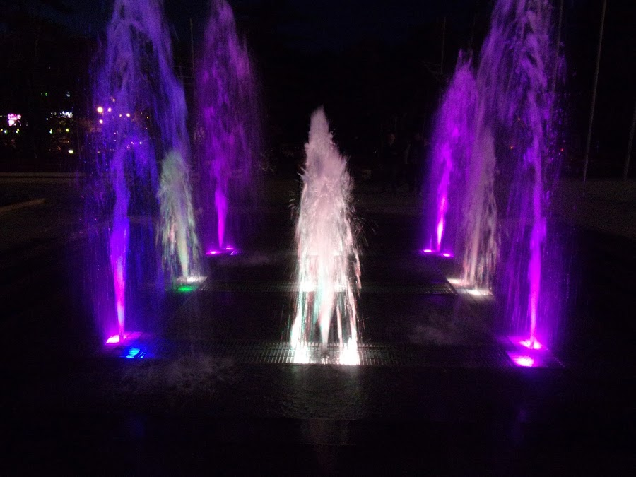 Coloured fountain at night. by Gabriel Constantinescu - City,  Street & Park  Fountains ( night photography, fountain, colored water, night shot )
