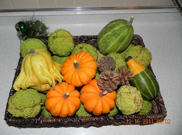 This is a beautiful display of Osage Oranges in a fall decorative display.