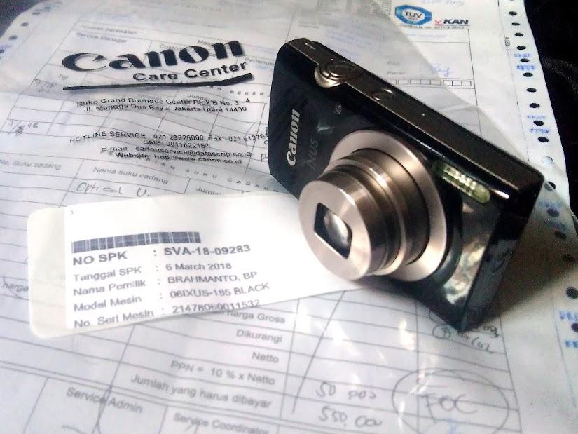 Canon IXUS 185 setelah rawat inap di service center Datascrip