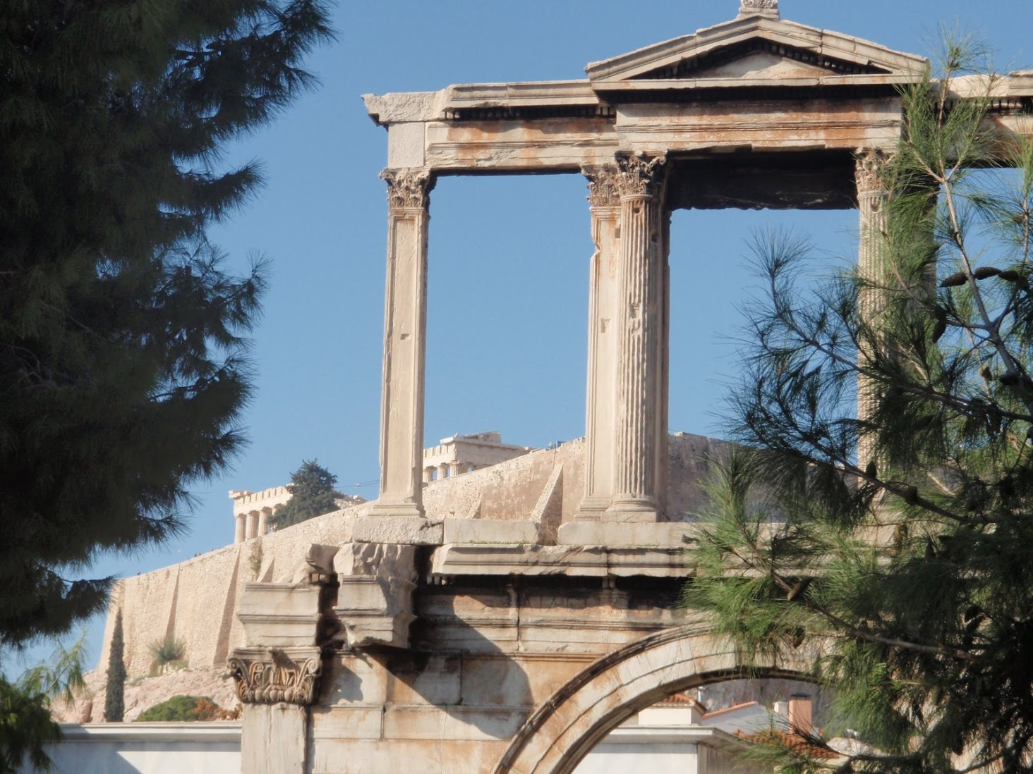 Hadrian's Arch with Acropolis in the back, Athens, Greece