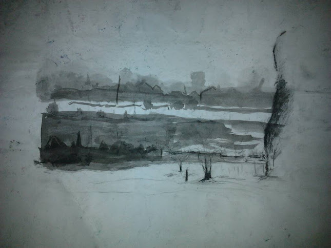 Photo: Landscape sketch; charcoal and ink.