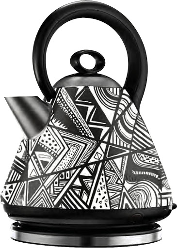 Graphic artist Sindiso Nyoni pimped up a Russell Hobbs kettle with a graphic black-and-white print.