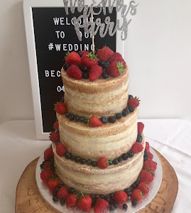 3 tiered naked wedding cake