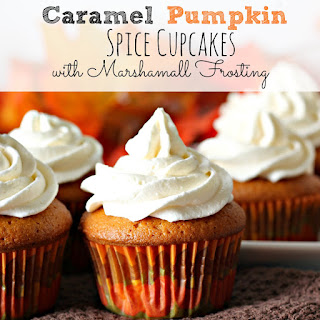 Caramel Pumpkin Spice Cupcakes with Marshmallow Frosting.