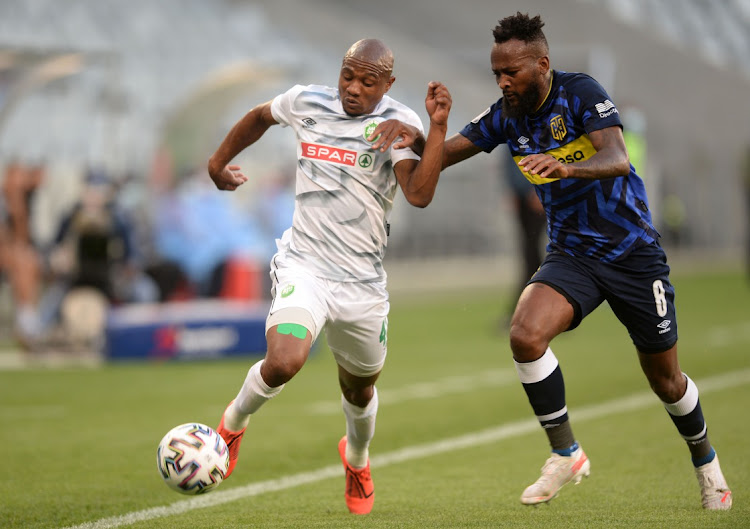 Thabo Qalinge of AmaZulu is challenged by Mpho Makola of Cape Town City during the DStv Premiership 2020/21 game between Cape Town City and AmaZulu at Cape Town Stadium on 28 April 2021.