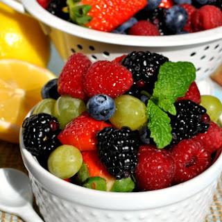 Fruit Salad With Honey Lemon Dressing.