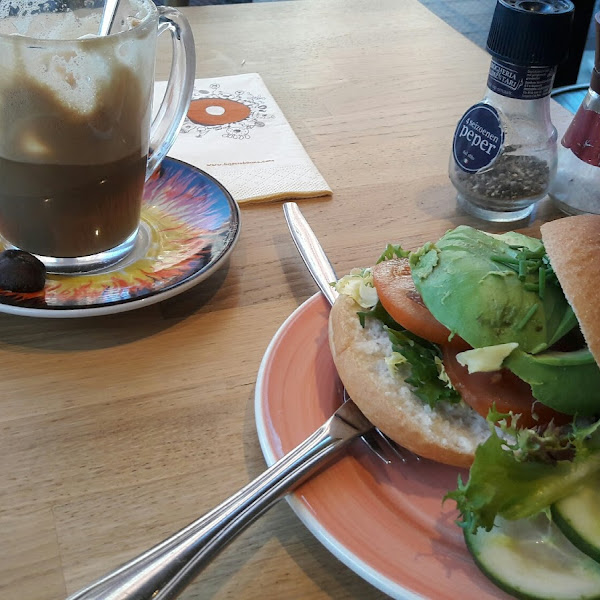 Delicious one!!! Mushroom Soya latte and GF Vegan Bagel. They have no vegan!