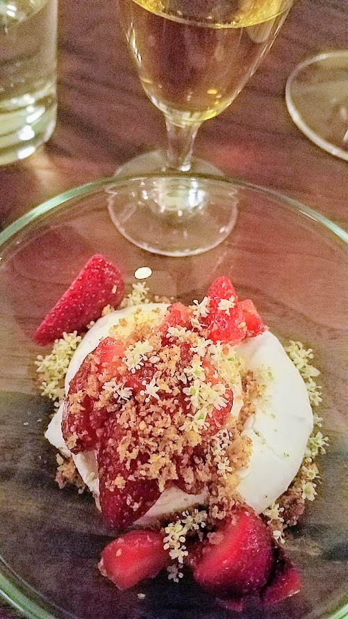 Chefs Week PDX 2017 Heritage Dinner at Chesa on May 7, Nora Antene (Tusk) created a dish of Macerated Strawberries, Anise Whipped Cream, Hoska Croutons
