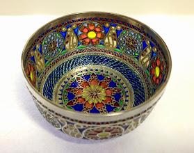 Photo: Plique-à-Jour Enamels by Diane Echnoz Almeyda - Lyres and Medallions Vessel (Bowl Form) - Fine Silver, Plique-à-Jour Enamels - Approximate size 38mm (h) x 67mm (diam) - $4500.00 US