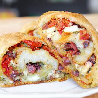 Feta Cheese, Olive and Sun-Dried Tomato Pesto Bread Appetizer.
