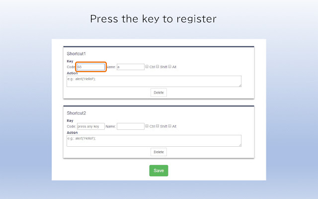 Register Shortcut Key