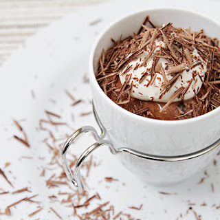 Chocolate–Cognac mousse in espresso cups with maple Chantilly and bittersweet chocolate shavings