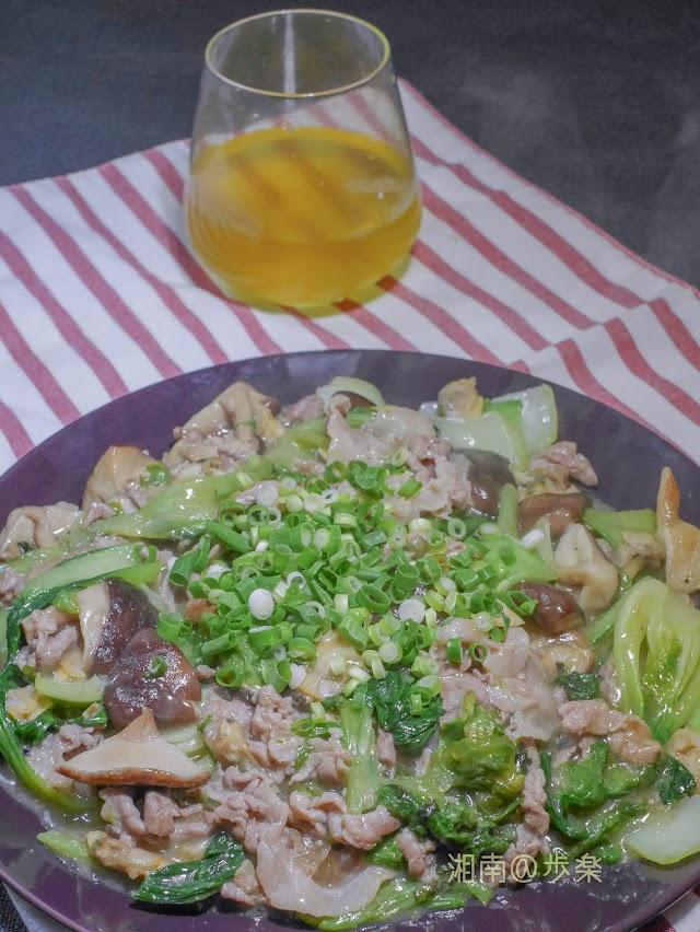 肉野菜炒め(青梗菜と椎茸)