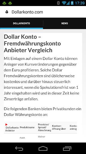Dollar Konto Anbietervergleich