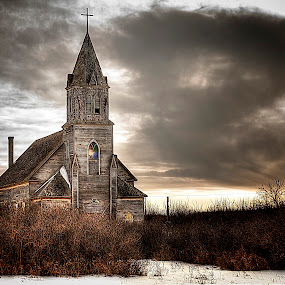 Losing My Religion by Scott Hryciuk - Buildings & Architecture Places of Worship ( winter, sky, church, moody, abandoned,  )