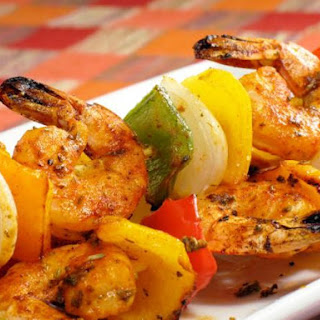 Skewers Of Shrimps With Vegetables