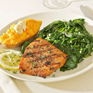 Grilled or Baked Salmon or Tuna Steaks.
