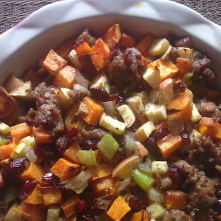 Paleo Butternut Sausage Stuffing with Apples & Cranberries