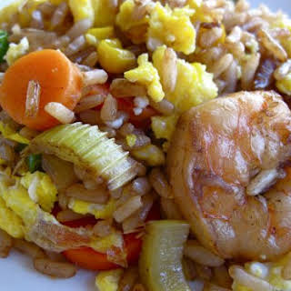 Yummy Homemade Fried Rice and Shrimp.