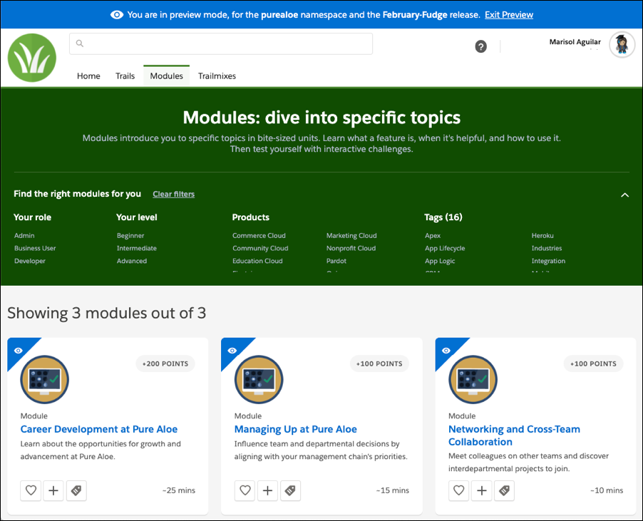 Content in the February release shown in preview mode on myTrailhead]