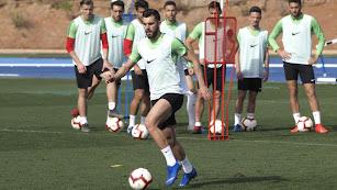 Luis Rioja en el entrenamiento de este miércoles.