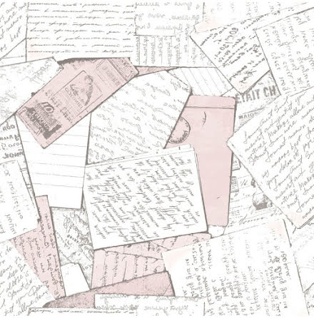 Christiana Masi Hashtag 11018 Tapet med handskrivna brev, Rosa/Grå/Vit