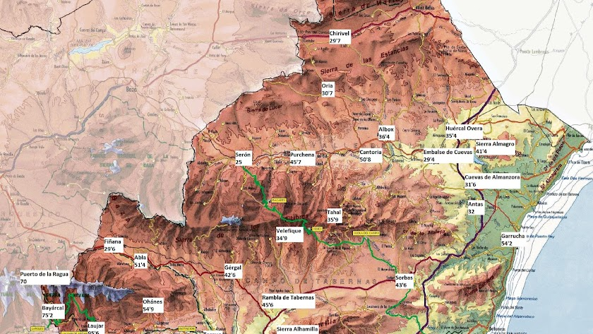 El mapa de las precipitaciones señala los puntos donde más agua se ha recogido. Fuente: Cazatormentas.