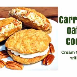 Carrot Cake Oatmeal Sandwich Cookies w/ Cream Cheese Filling.