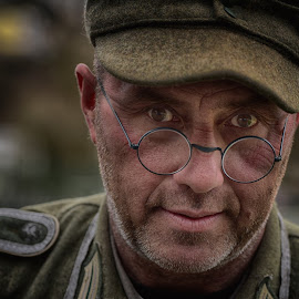 by Marco Bertamé - People Portraits of Men ( glasses, ww2, cap, round, soldier, headshot, military, looking, man, portrait, circle, eyes )