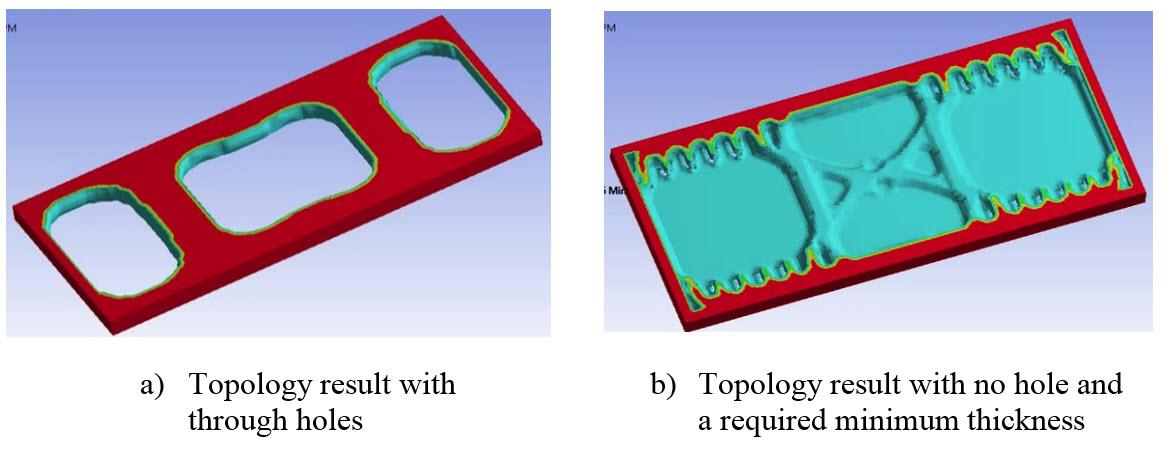 ANSYS Топологическая оптимизация литой детали: (а) – без ограничений на сквозные отверстия, (b) – с запретом на сквозные отверстия (No-hole Option)
