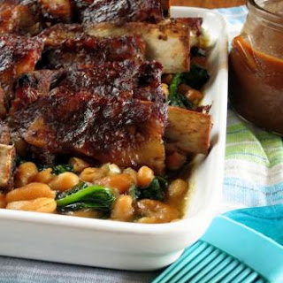 BBQ Pork Ribs with Spinach-Bean Salad from my cookbook!